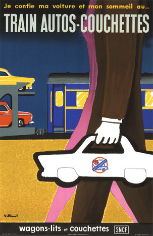 Bernard Villemot - Trains Autos-Couchettes border=