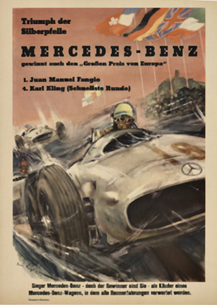 Mercedes benz triumph der silberpfeile h liskars the for Mercedes benz poster