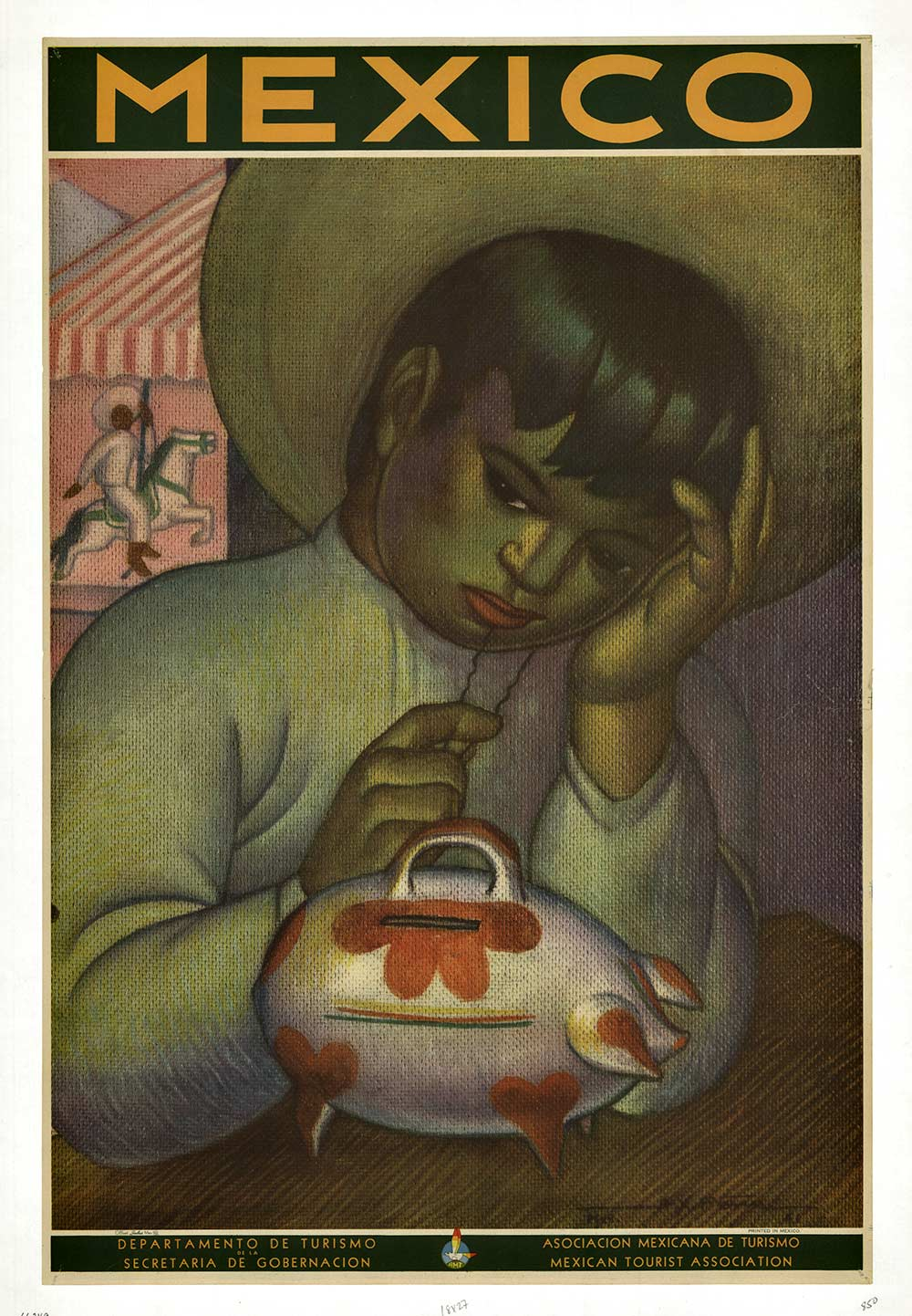 Mexico (Boy) w. Piggy bank, A. X. Pena
