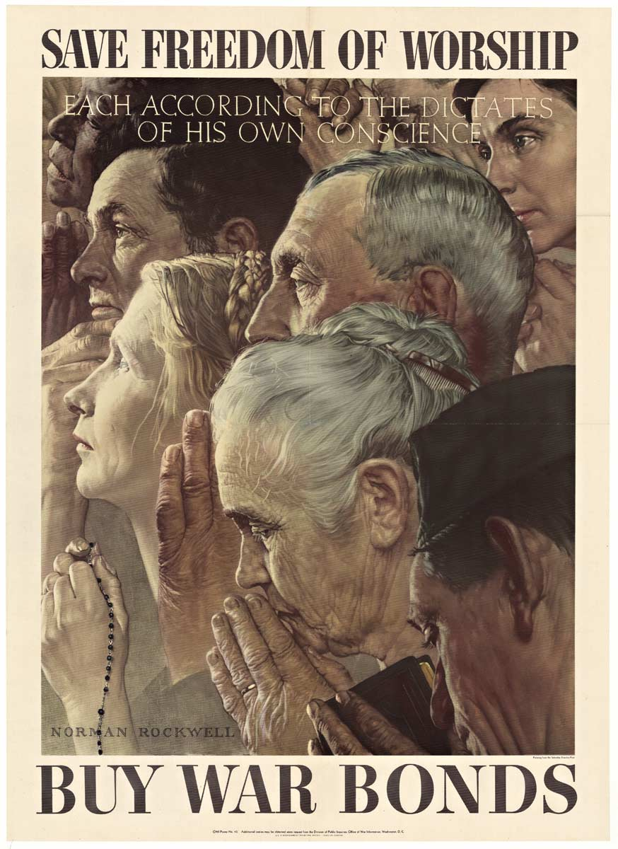 Freedom of Worship (Small format), Norman Rockwell
