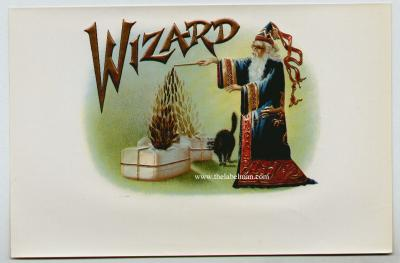 Wizard Cigar box original label, Anonymous Artists