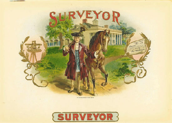 Surveyor cigar box label, Anonymous Artists