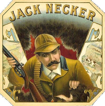 Jack Necker cigar box label, Anonymous Artists