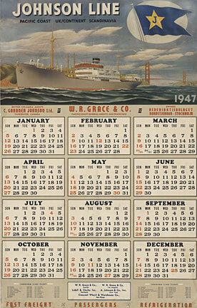 Johnson Line Cruise Line (Calendar), Anonymous Artists
