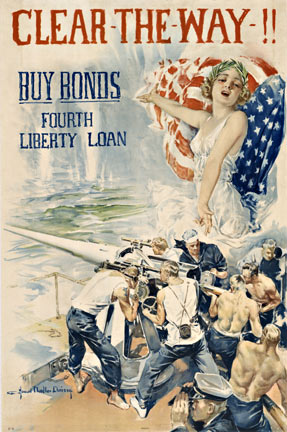 Howard Chandler Christy - Clear the Way 4th Liberty Loan border=