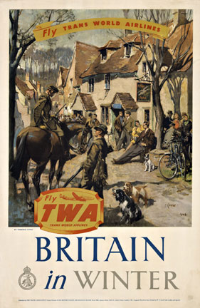Fly TWA to Britain in Winter, Terence Cuneo