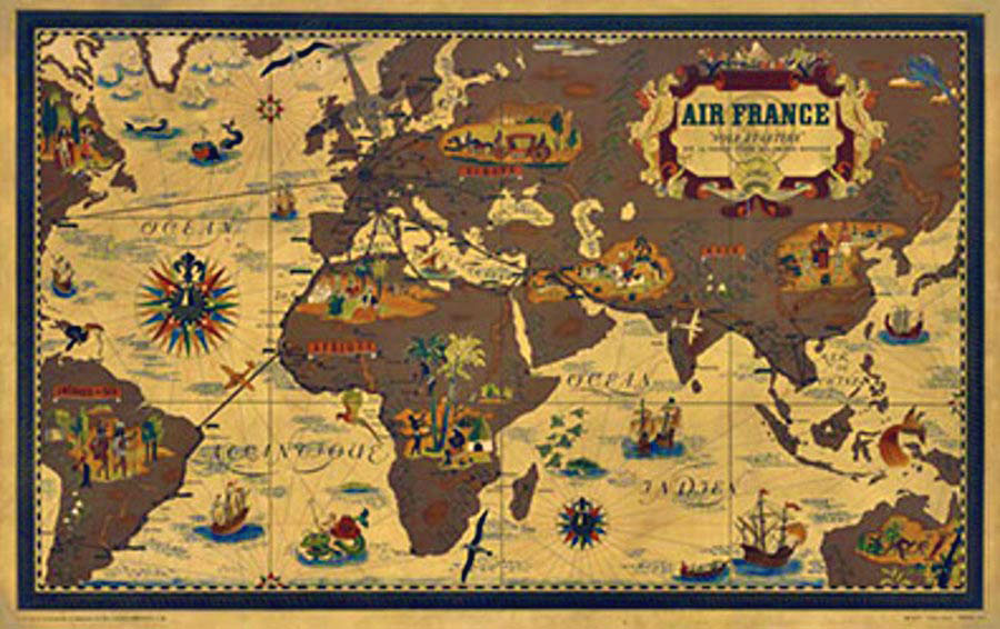 Lucien Boucher - Air France Planisphere border=