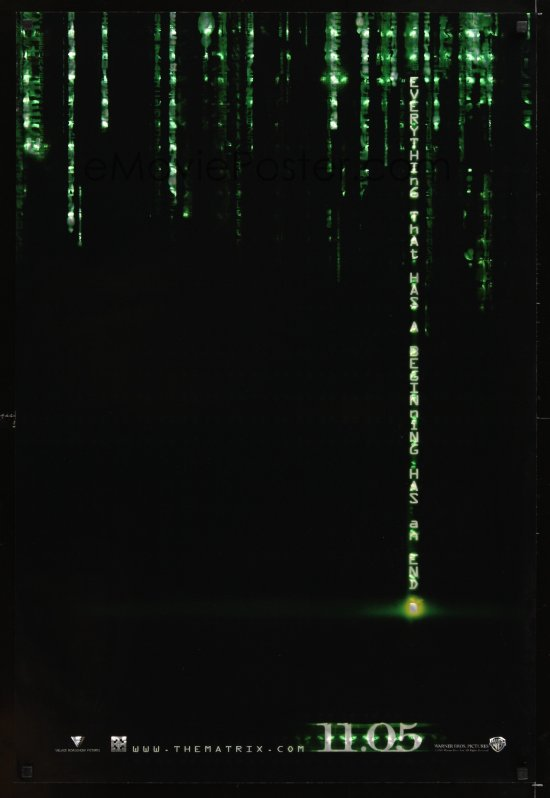 Matrix Reloaded holofoil teaser, Anonymous Artists