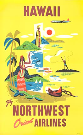 Anonymous Artists - Hawaii Northwest Orient Airlines border=