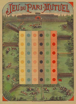 Jeu du Pari - Mutuel - Horse - Game Board, Anonymous Artists