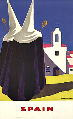 Spain travel posters with nuns, Guy Georget