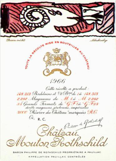 Pierre Alechinsky - Chateau Mouton Rothchild 1966 wine label border=