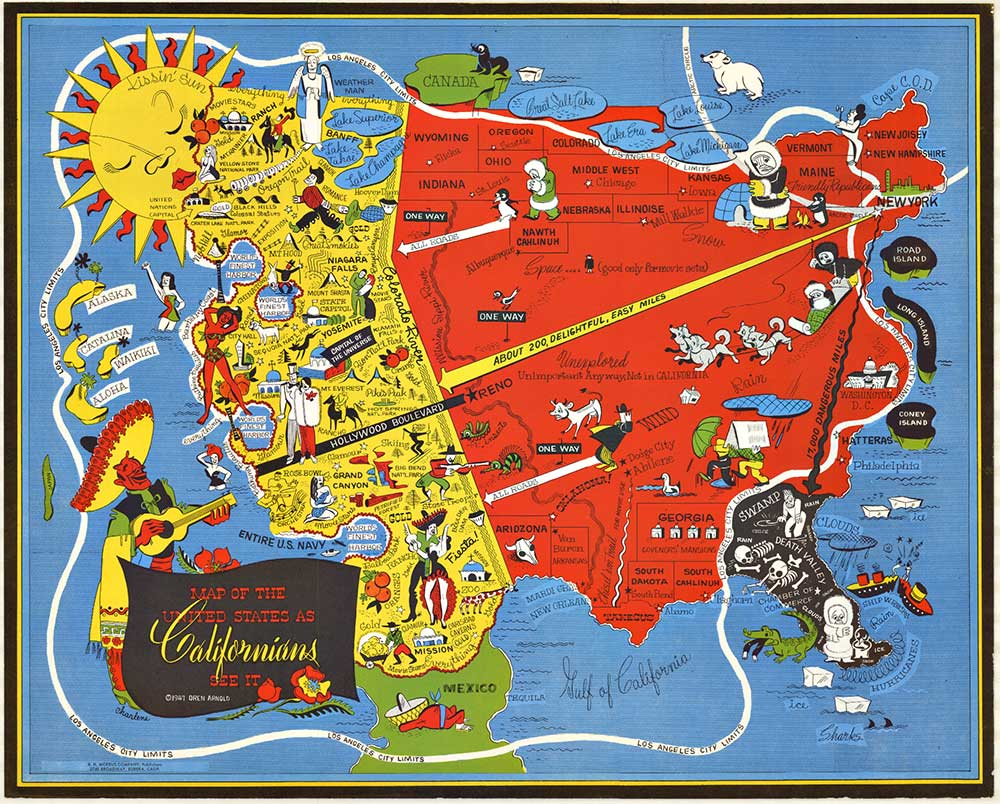 CALIFORNIA Map of the US Oren Arnold The Vintage Poster