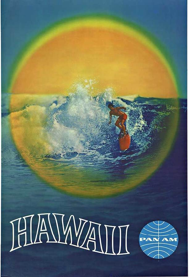 Anonymous Artists - PAN AM HAWAII Surfing Poster border=