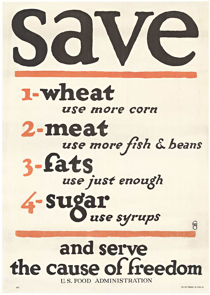 Save 1. Wheat 2. Meat 3. Fats 4. Sugar, Anonymous Artists