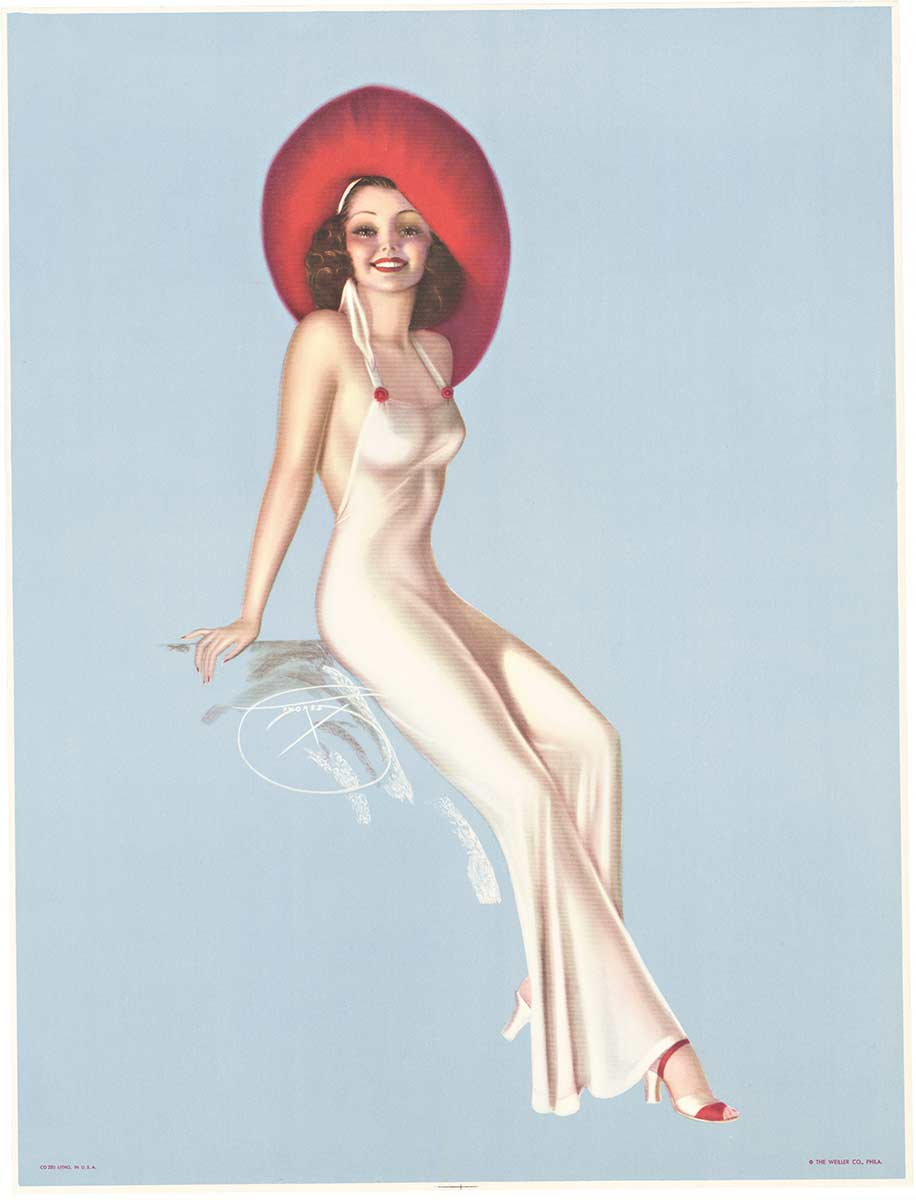 Billy Devorss - Pin Up Girl with Red Hat border=
