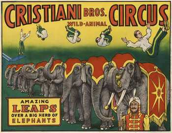Title: Cristiani Bros. Circus , Date: 1958 , Size: 25.5 x 20 , Medium: Lithograph , Price: $525