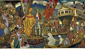 Title: Matison Lines Hawaii - A God Appears , Date: 1954 , Size: 12 x 21