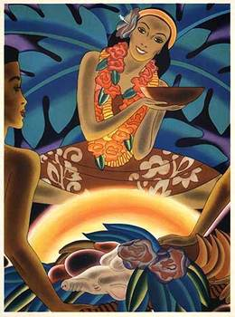 Title: Hawaii - The Luau , Date: 1938 , Size: 12 x 8.75
