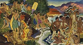 Title: Matson Lines Hawaii - Festival of the Sea , Date: 1952 , Size: 12 x 21