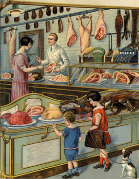 Title: A trip to The Butcher Shop , Date: circa 1930s , Size: 15