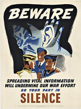 Title: Beware  do your part in Silence , Date: WWII , Size: 24 x 18 , Medium: Lithograph , Price: $549