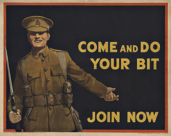 Title: Come and do Your Bit Join Now , Date: 1915 , Size: 40 x 50 , Medium: Stone-Lithograph , Price: $1,750