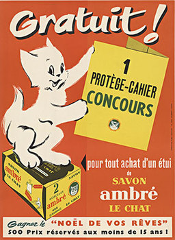 Title: Savon Ambre Le Chat , Date: c. 1940 , Size: 11.25 x 15.25 , Medium: Lithograph , Price: $299