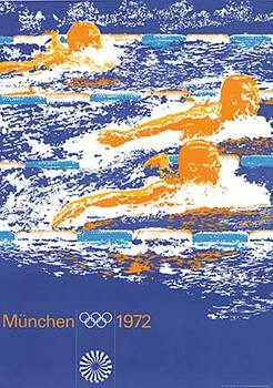 Title: Munich 1972 - Swimming , Date: 1972 , Size: 33.5 x 46.5 , Medium: Lithograph , Price: $975