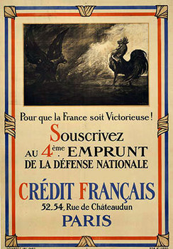 Title: Credit Francais - 4th Emprunt , Date: 1916 , Size: 31 x 44.5 , Medium: Lithograph , Price: $475