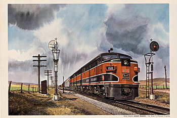 Title: Rock Island engine #160 , Date: c. 1940s , Size: 16  x  22.5 , Medium: Lithograph , Price: $450