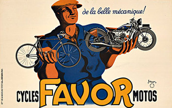 Title: Cycles Favor Motos (S) , Date: 1937 , Size: 22