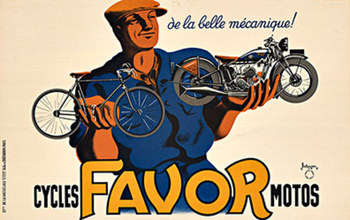 Title: Cycles Favor Motos (S) motorcycle , Date: 1937 , Size: 23 1/2