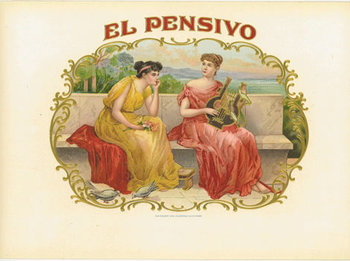 Title: El Pensivo original cigar box label , Size: 6 x 9