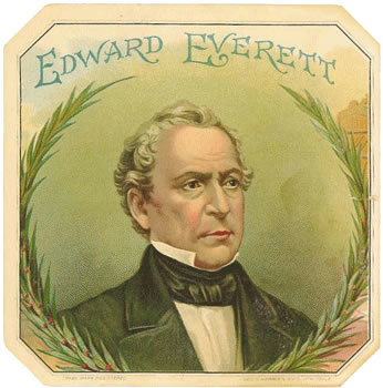 Title: Edward Everett cigar box label , Size: 4 x 4