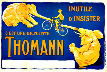Title: Thomann Bicycle Poster , Date: c. 1930 , Size: 31.75 x 41 , Medium: Lithograph , Price: $1,200