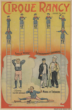 Title: Cirque Rancy - rare circus poster , Date: c. 1880 , Size: 28.5 x 58 , Medium: Stone-Lithograph , Price: $17,500