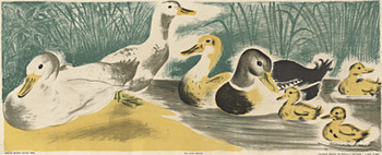 Title: Ducks - school panel , Size: 14.5 x 36.5 , Medium: Lithograph , Price: $350