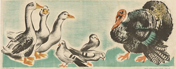 Title: Ducks - children's panel , Size: 14.5 x 36.5 , Medium: Lithograph , Price: $350