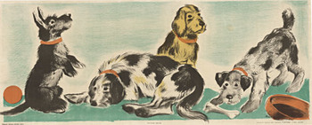 Title: Dogs - children's panel , Size: 14.5 x 36.5 , Medium: Lithograph , Price: $350