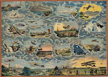 Title: Aircraft Board Game , Date: c. 1912 , Size: 22.5 x 31 , Medium: Chromo-Lithograph , Price: $450