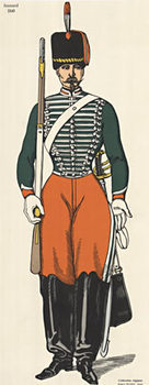 Title: Hussard 1840  (Soldier) , Size: 12.5 x 30.5 , Medium: Stone-Lithograph , Price: $350