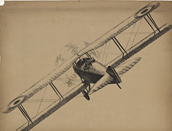 Title: Airplane - biplane (without text) , Date: c. 1920's , Size: 24.5 x 19 , Medium: Lithograph , Price: $350