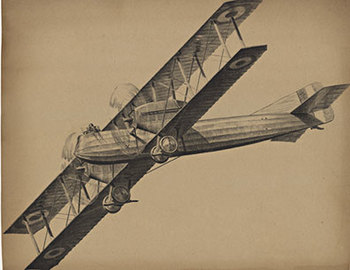 Title: Airplane - biplane (without text) , Date: C. 1920 , Size: 24 X 19.5 , Medium: Lithograph , Price: $350