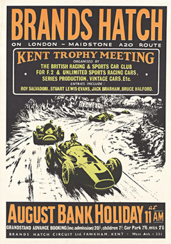 Title: Brands Hatch Kent Trophy , Date: 1950's-60's , Size: 20 x 29 , Medium: Lithograph , Price: $898