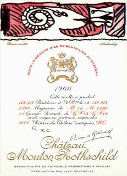 Title: Chateau Mouton Rothchild 1966 wine label , Date: 1966 , Size: 4 x 5.75 , Medium: Lithograph , Price: $169