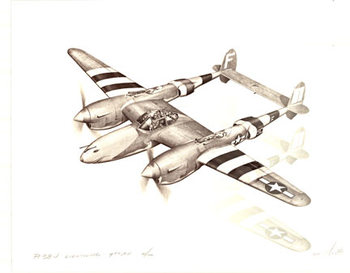 Title: P - 38 J Lightning 9th AF , Size: 14 x20 , Medium: Lithograph  (b/w) , Price: $49