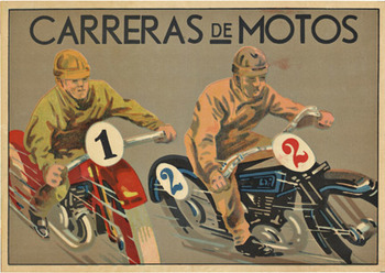 Title: Carreras de Motos , Date: 1930's , Size: 8.5 x 12 , Medium: Chromo-Lithograph , Price: $250