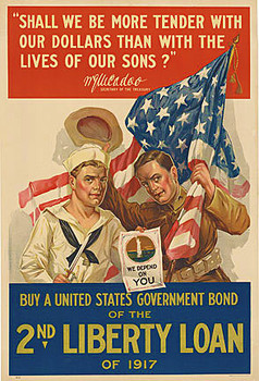 Title: 2nd Liberty Loan - WW1 , Date: 1917 , Size: 20 x 30 , Medium: Lithograph , Price: $975