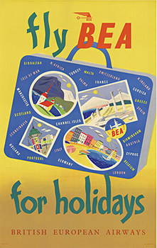 Title: FLY BEA FOR HOLIDAYS , Date: c. 1955 , Size: 25.25 X 40